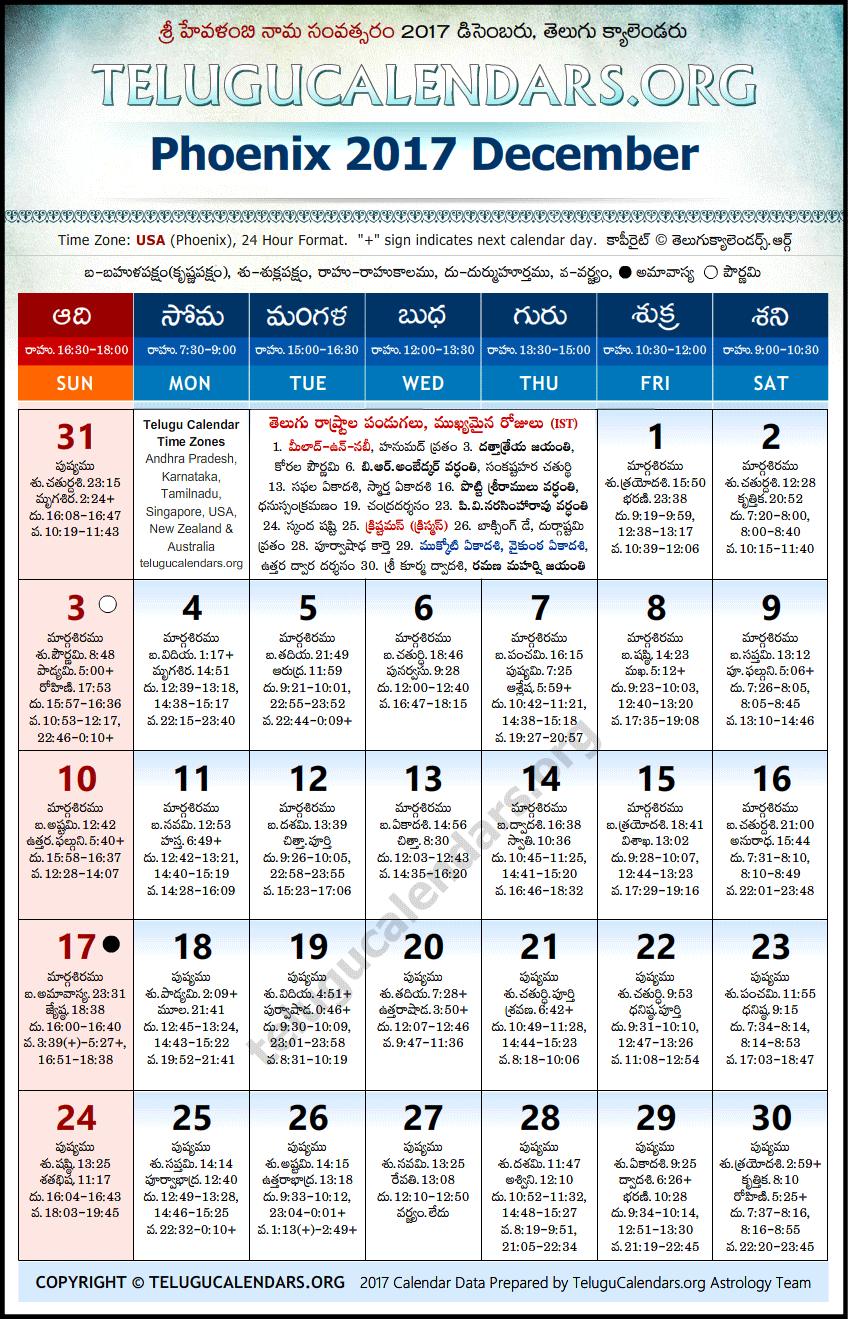 Telugu Calendar 2017 October