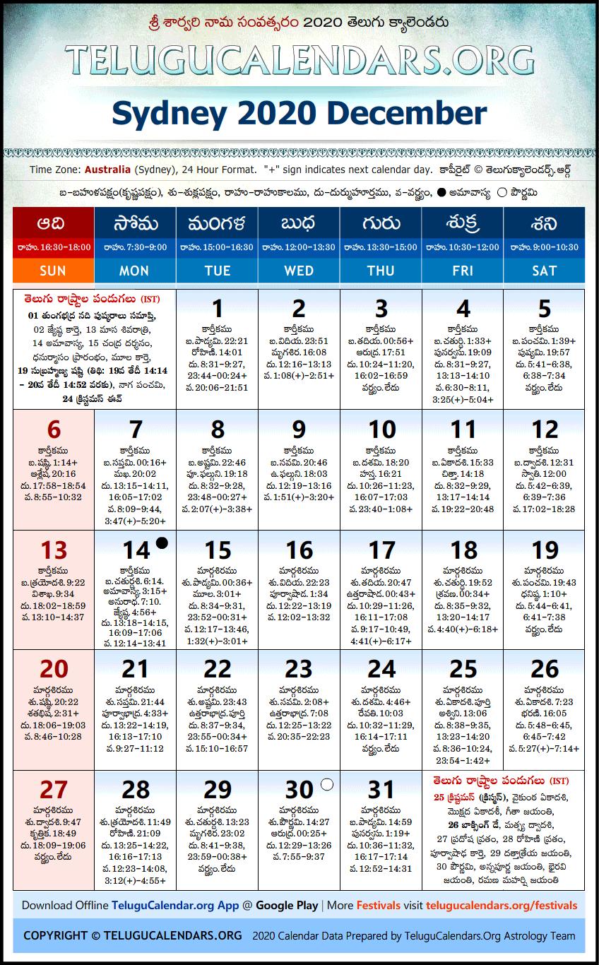 Sydney | Telugu Calendars 2020 December