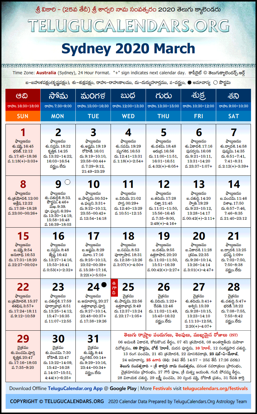 Sydney | Telugu Calendars 2020 March